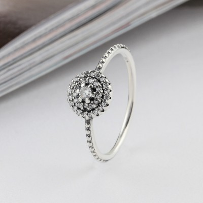 Tinnivi Halo Round Cut Created White Sapphire Sterling Sliver Womens Ring