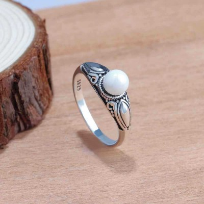 Tinnivi Vintage Flower Sterling Sliver Womens Ring
