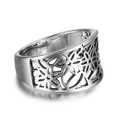 Tinnivi Sterling Sliver Wide Hollow Out Flower Womens Ring