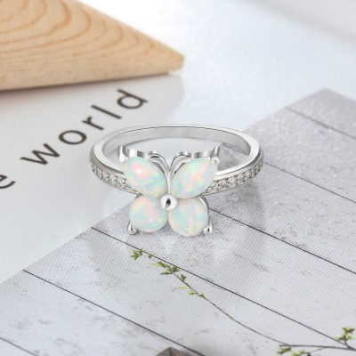 Tinnivi Opal Butterfly Sterling Silver Womens Ring