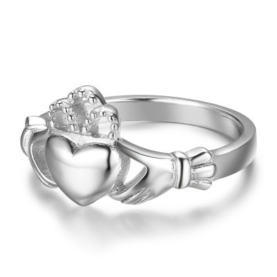 Tinnivi Sterling Silver Polished Claddagh Womens Ring