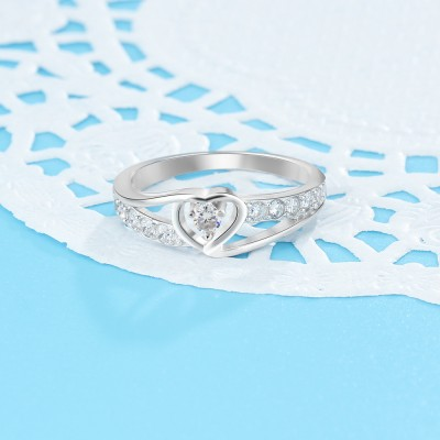 Tinnivi Heart Created White Sapphire Sterling Silver Womens Ring