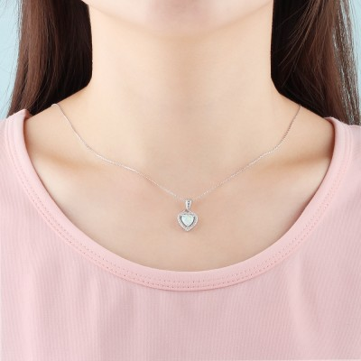 Tinnivi Halo Heart Cut Opal With Created White Sapphire Sterling Silver Pendant Necklace
