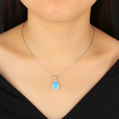 Tinnivi Sterling Silver Halo Pear Cut Blue Opal Pendant Necklace