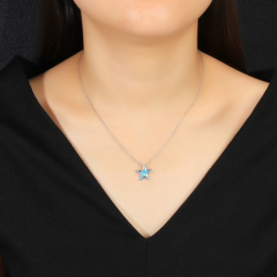 Tinnivi Blue Opal Starfish Sterling Silver Pendant Necklace