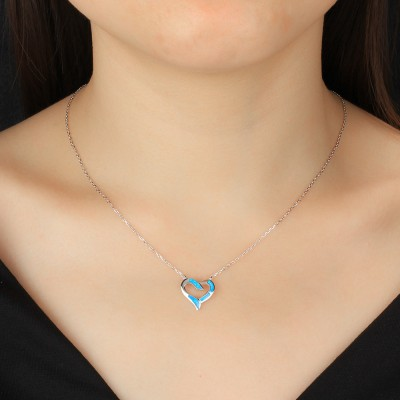 Tinnivi Blue Opal Heart Shape Sterling Silver Pendant Necklace