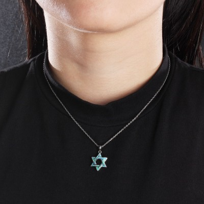 Tinnivi Sterling Silver Blue Opal Hexagram Pendant Necklace