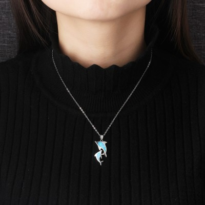 Tinnivi Sterling Silver Blue Opal Dolphin Pendant Necklace