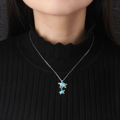 Tinnivi Sterling Silver Blue Opal Turtle Parent Child Pendant Necklace