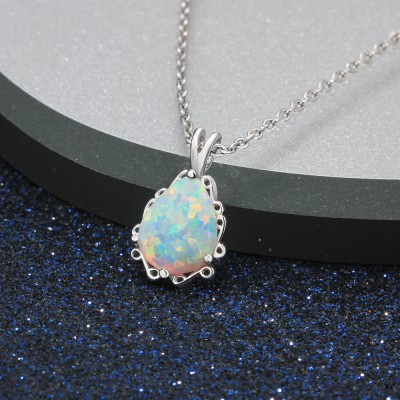 Tinnivi Gorgeous Pear Cut Opal Sterling Silver Pendant Necklace
