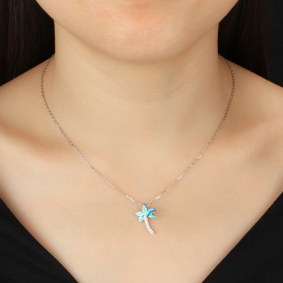Tinnivi Sterling Silver Blue Opal Palm Tree Pendant Necklace