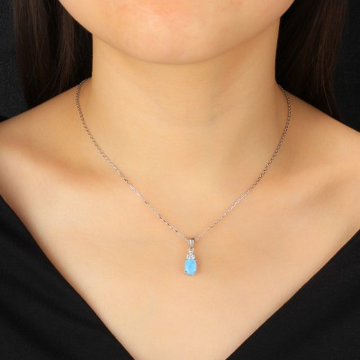 Tinnivi Oval Cut Blue Opal With Created White Sapphire Sterling Silver Pendant Necklace