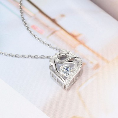 Tinnivi Heart Sterling Silver Moving Created White Sapphire Pendant Necklace
