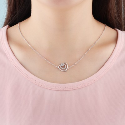 Tinnivi Sterling Silver Double Heart Created White Sapphire Pendant Necklace