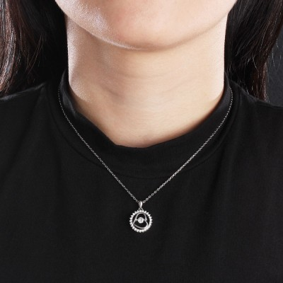 Tinnivi Circle Heart Sterling Silver Moving Created White Sapphire Pendant Necklace