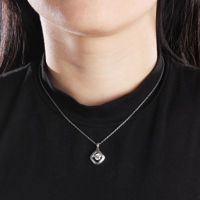 Tinnivi Rhombus Sterling Silver Moving Created White Sapphire Pendant Necklace