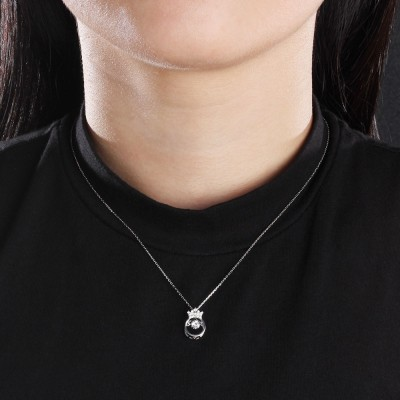 Tinnivi Crown Sterling Silver Moving Created White Sapphire Pendant Necklace