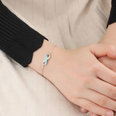 Tinnivi Infinite Blue Opal With Created White Sapphire Sterling Silver Bracelet