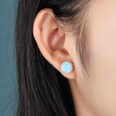 Tinnivi Halo Blue Opal Sterling Silver Stud Earrings