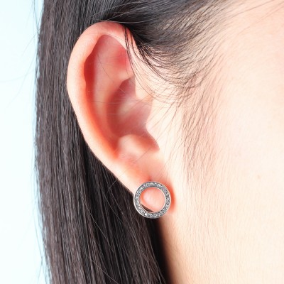 Tinnivi Created White Sapphire Circle Sterling Silver Stud Earrings