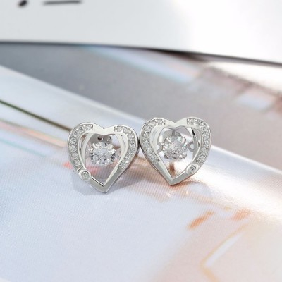 Tinnivi Heart Sterling Silver Moving Created White Sapphire Stud Earrings
