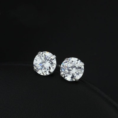 Tinnivi 8mm Created White Sapphire Sterling Silver Stud Earrings