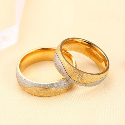 Tinnivi Titanium Steel Stylish Dull Polish Couple's Ring
