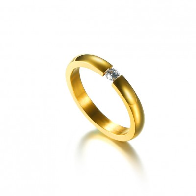 Tinnivi Round Cut Created White Sapphire Gold Titanium Steel Wedding Band