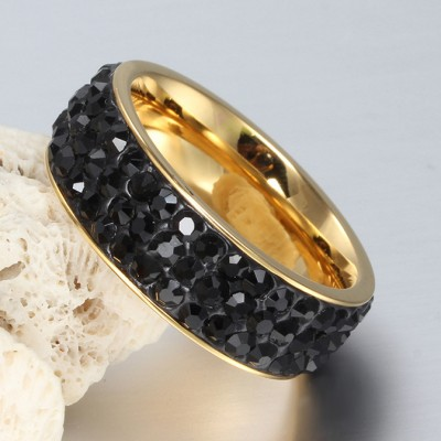 Tinnivi Titanium Steel Pave Created Black Diamond Fashional Wedding Band