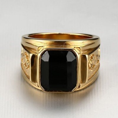 Tinnivi Created Asscher Cut Black Diamond Gold Titanium Steel Men's Ring