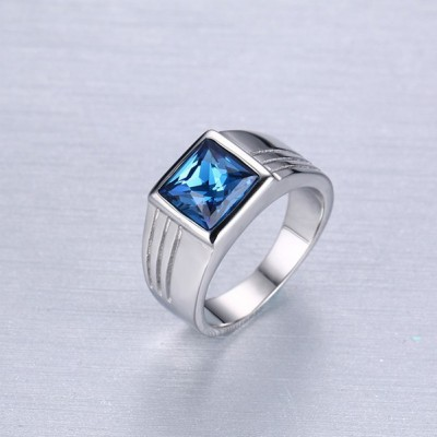 Tinnivi Titanium Steel Square Cut Blue Gemstone Ring