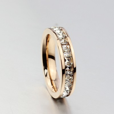 Tinnivi Rose Gold Titanium Steel Princess Cut Created White Sapphire Wedding Ring
