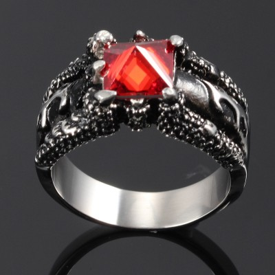 Tinnivi Gothic Dragon Claw Design with Red Stone Titanium Steel Men's Ring