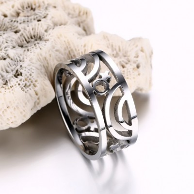 Tinnivi Silver Color Titanium Steel Hollow-Out Women's Ring