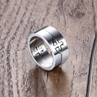 Tinnivi Silver Double Personality Cross Form Titanium Steel Rings For Mens