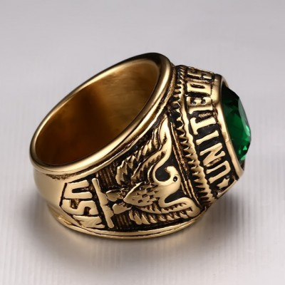 Tinnivi Vintage Gothic Created Gemstone Gold Green Eagle Anchor Carved Titanium Steel Men's Band