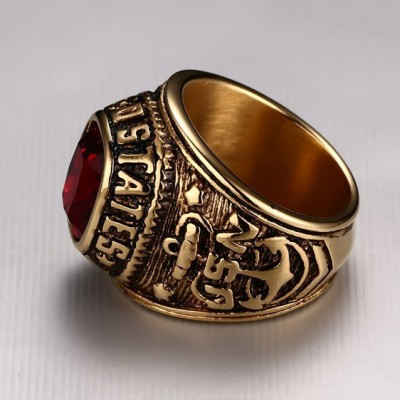 Tinnivi Vintage Gothic Created Gemstone Titanium Steel Gold Red Eagle Anchor Carved Men's Band