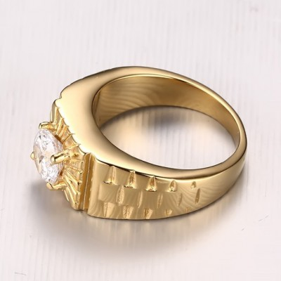 Tinnivi Gold Titanium Steel Round Cut Created White Sapphire Stylish Men's Ring