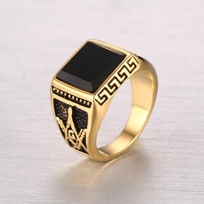 Tinnivi Square Created Black Diamond Fraternal Order Carved Men's Ring