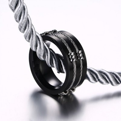 Tinnivi Black Titanium Steel Wia Men's Weddind Band