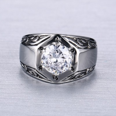 Tinnivi Titanium Steel Round Cut White Sapphire Men' s Ring