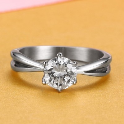 Tinnivi Special Design Titanium Steel Round Cut Created White Sapphire Engagement Ring