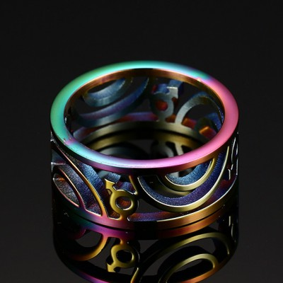 Tinnivi Titanium Steel Rainbow Color Hollow-Out Women's Ring