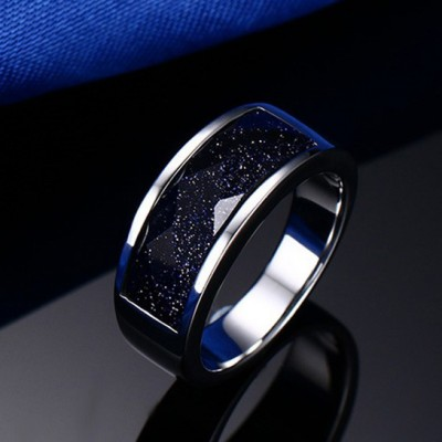 Tinnivi Titanium Steel Blue Sky Gem SandStone Men's Wedding Band