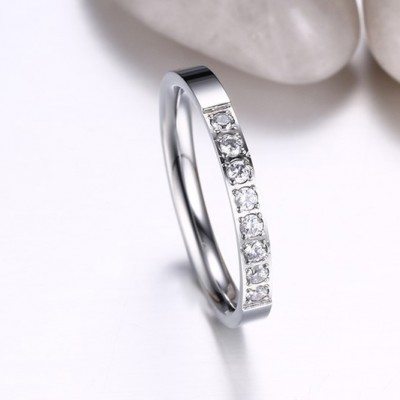 Tinnivi Titanium Steel Silver Color Round Cut Created White Sapphire Wedding Band