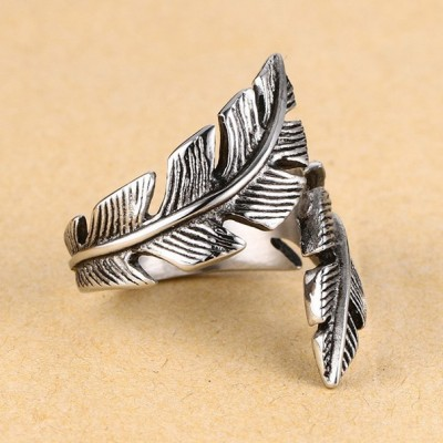 Tinnivi Titanium Steel Vintage Feather Men's Band