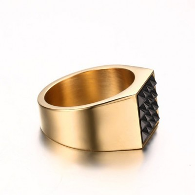 Tinnivi Titanium Steel Square Created Black Diamond Men's Rings