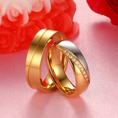 Tinnivi Gold Titanium Steel Thin Line Wedding Bands For Couples