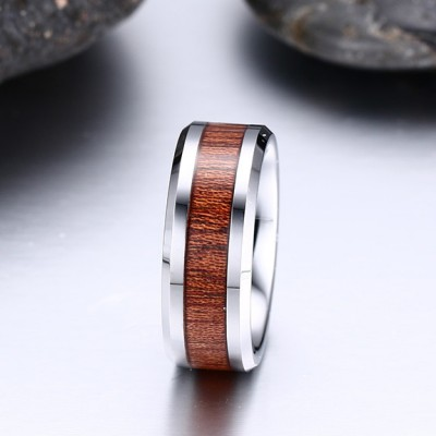 Tinnivi Wood Grain Inlay Comfort Fit Titanium Steel Men's Band