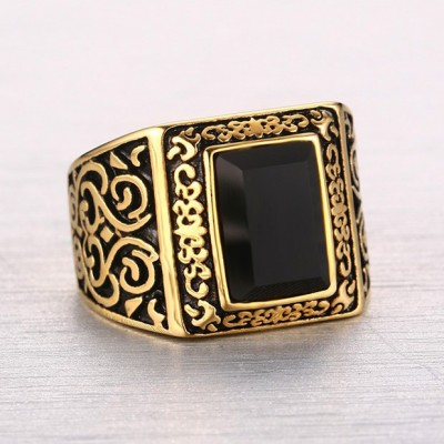 Tinnivi Gold Black Vintage Retro Pattern Agate Titanium Steel Men's Band